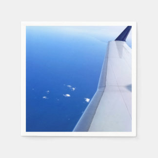 Airplane Wing Flying in Sky Photo Disposable Serviettes