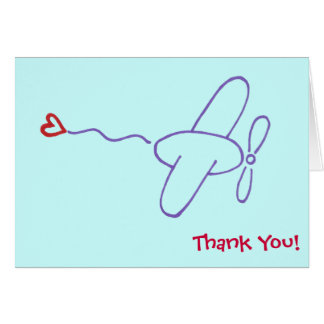 Airplane with Heart Thank You Note Card
