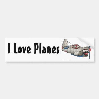 """""""Airplane WW2 Fighter Plane, I Love Planes… Bumper Bumper Sticker"""