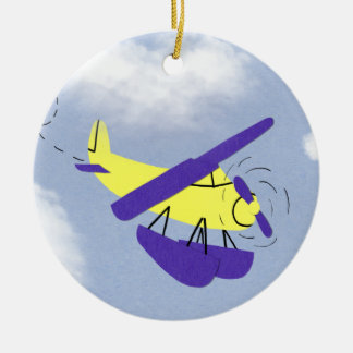 Airplane Yellow and Blue Cartoon Art Christmas Ornament