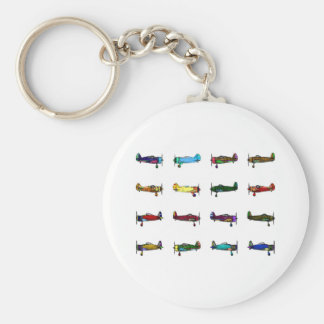 airplanes basic round button key ring