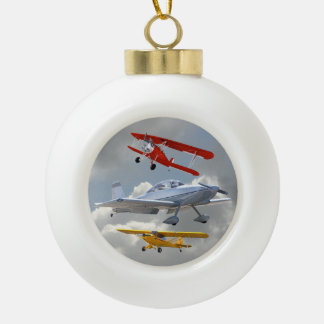 AIRPLANES CERAMIC BALL CHRISTMAS ORNAMENT