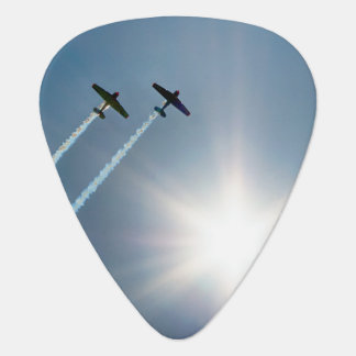 Airplanes Flying on Blue Sky with Sun. Plectrum