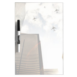 Airplanes flying over buildings dry erase board