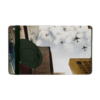 Airplanes flying over buildings iPad folio case