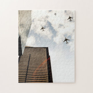 Airplanes flying over buildings jigsaw puzzle