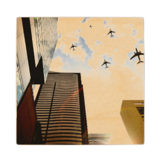 Airplanes flying over buildings wood coaster