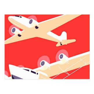 Airplanes Flying Vintage Propeller Planes Postcard