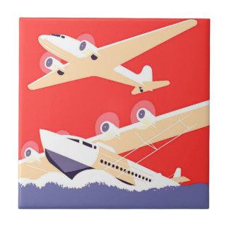 Airplanes Flying Vintage Propeller Planes Tile
