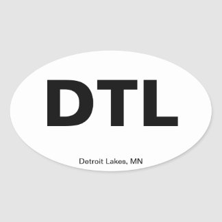 Airport Code - Detroit Lakes, Minnesota Oval Sticker