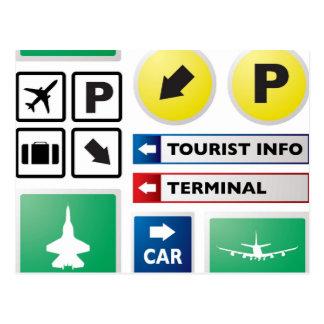 Airport concept postcard