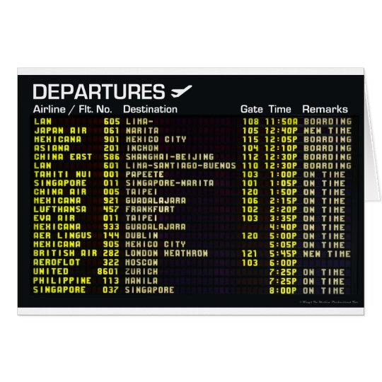Airport Departures Greeting Card
