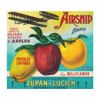 Airship Apple Crate LabelWatsonville, CA Canvas Print