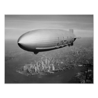 Airship Flying Over New York City Poster