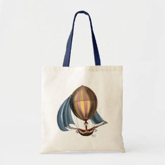 AirShip with Blue Sails Budget Tote Bag