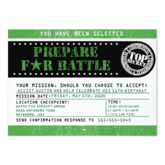 Airsoft 'Prepare for Battle' 5x7 Military Green Card