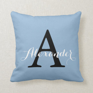 Airy Blue Light Solid Color Monogram Baby Boy Throw Pillow