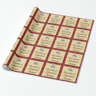 AIW Logo & Script - Burgundy Floral Background Gift Wrap Paper