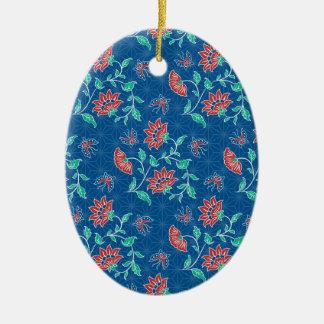 Aiyana Floral Batik Oval Ornament