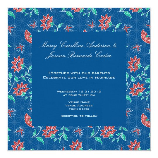 Aiyana Floral Batik Square Wedding Invitation 3