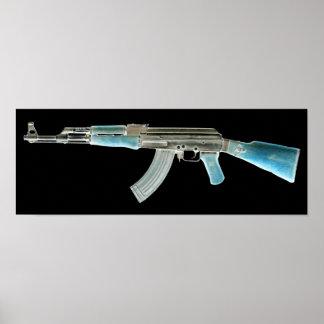 AK-47 Negative Blue Poster