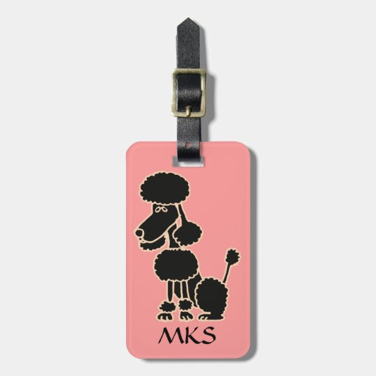 AK- Funny Black Poodle Luggage Tag