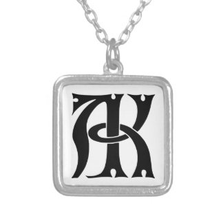 AK Monogram Square Pendant Necklace