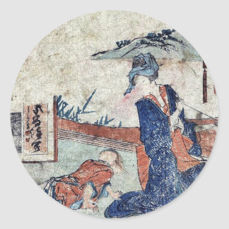 Akasaka  by Katsushika, Hokusai Ukiyoe Round Sticker