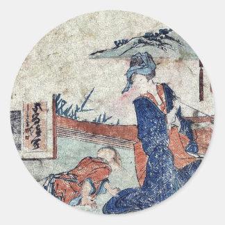 Akasaka  by Katsushika, Hokusai Ukiyoe Round Stickers