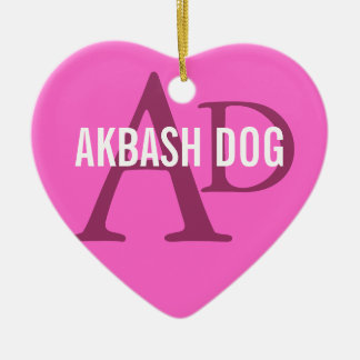 Akbash Dog Breed Monogram Ceramic Heart Decoration