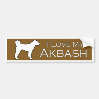 Akbash love - brown bumper sticker