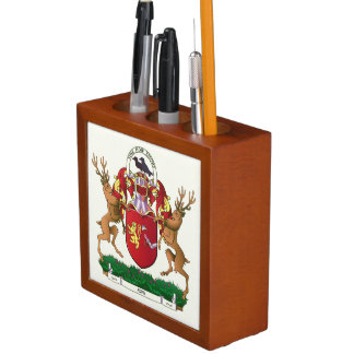 Akins coat of arms ceramic tile desk organiser
