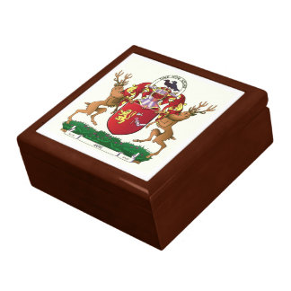 Akins coat of arms ceramic tile keepsake box