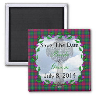 Akins Scottish Wedding Save The Date Square Magnet