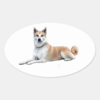 Akita (Akita Inu) - Lying Down Oval Sticker