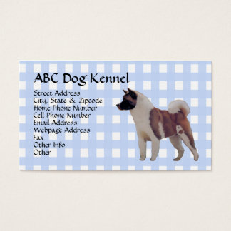 Akita Blue Gingham Business Card