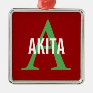 Akita Breed Monogram Design Silver-Colored Square Decoration