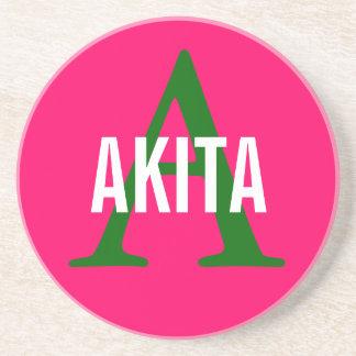 Akita Breed Monogram Design Sandstone Coaster