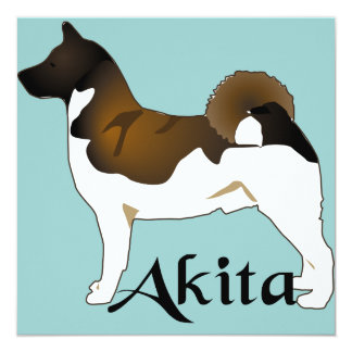 Akita, Detailed 13 Cm X 13 Cm Square Invitation Card