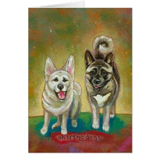 Akita dog art happy dogs fun painting Unorthodogs Card