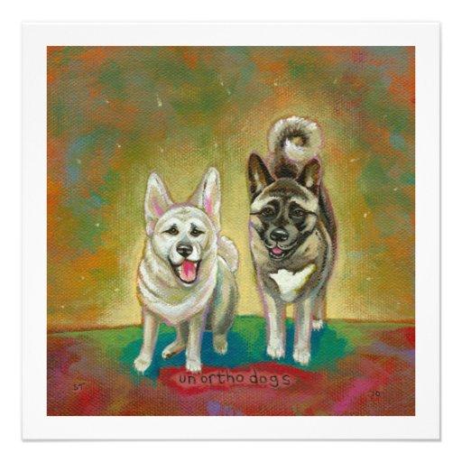 Akita dog art happy dogs fun painting Unorthodogs Personalized Invitations