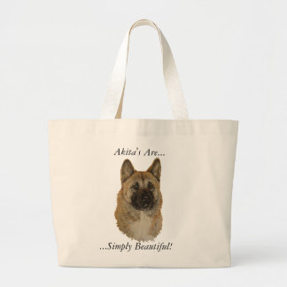 Akita dog portrait realist animal art tote bag