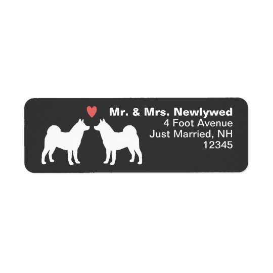 Akita Dog Silhouettes with Heart Return Address Label