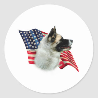 Akita Flag Round Stickers