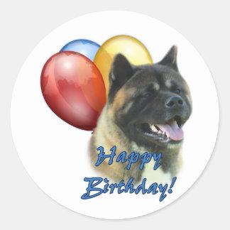 Akita Happy Birthday Balloons Classic Round Sticker