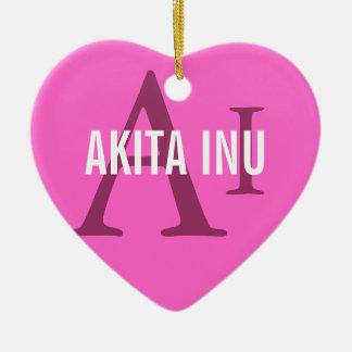 Akita Inu Breed Monogram Ceramic Heart Decoration