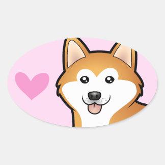 Akita Inu / Shiba Inu Love Oval Sticker