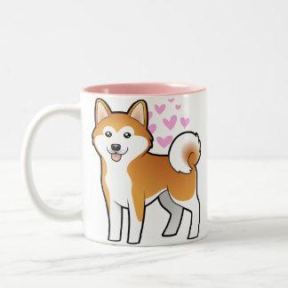 Akita Inu / Shiba Inu Love Two-Tone Coffee Mug