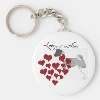 Akita Love Keychain