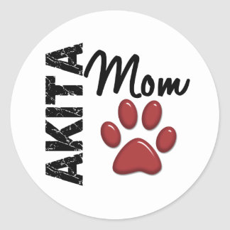 Akita Mom 2 Classic Round Sticker